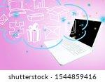open laptop on pink background... | Shutterstock . vector #1544859416