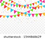 colorful confetti and balls... | Shutterstock .eps vector #1544868629