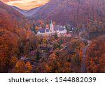 LILLAFURED,HUNGARY - Aerial view of Lillafured Castle with autumn colors at sunset Lillafured is one of the most beautiful natural environments, Miskolc in the Eastern part of Bukk Mountains, Hungary