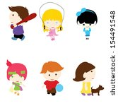six little children with... | Shutterstock .eps vector #154491548