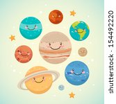 cute planet  saturn  mars ... | Shutterstock .eps vector #154492220