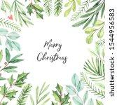 winter frame with greenery fir... | Shutterstock . vector #1544956583