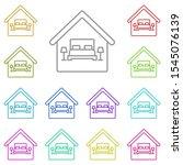 bedroom  house multi color icon....