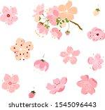 free hand sakura flower vector... | Shutterstock .eps vector #1545096443