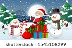 christmas night with santa and... | Shutterstock .eps vector #1545108299