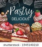 cakes on blackboard vector...   Shutterstock .eps vector #1545140210