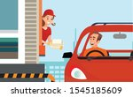 drive thru fast food restaurant ... | Shutterstock .eps vector #1545185609