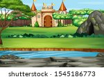 scene with castle towers in the ... | Shutterstock .eps vector #1545186773