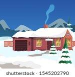 village house exterior flat... | Shutterstock .eps vector #1545202790