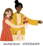 girls celebrating an important...   Shutterstock .eps vector #1545206369