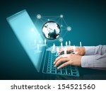 computer technology with social ... | Shutterstock . vector #154521560