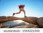 Hiker In Unusual Stone...