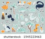 cute cartoon set of stickers... | Shutterstock .eps vector #1545223463