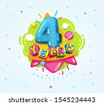 4 years anniversary. kids color ... | Shutterstock .eps vector #1545234443