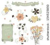 retro flowers in vector. cute...   Shutterstock .eps vector #154525850