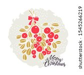 merry christmas card. branch... | Shutterstock .eps vector #1545266219