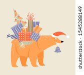 funny cartoon bear in a santa...   Shutterstock .eps vector #1545288149