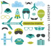 airplane party set   photobooth ... | Shutterstock .eps vector #154529519