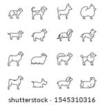 set of dogs breed standing... | Shutterstock .eps vector #1545310316