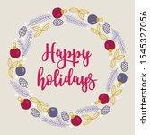 christmas wreath with fir... | Shutterstock .eps vector #1545327056