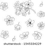 branch of sakura flower vector... | Shutterstock .eps vector #1545334229