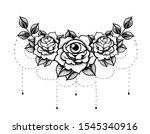 rose tattoo with eye mystic... | Shutterstock .eps vector #1545340916