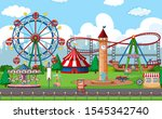 an outdoor funfair scene...   Shutterstock .eps vector #1545342740
