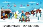 winter holidays rest flat... | Shutterstock .eps vector #1545378089