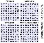set of drinks  kitchen  bakery... | Shutterstock .eps vector #154540976