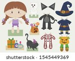 halloween girl dress up paper... | Shutterstock .eps vector #1545449369