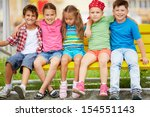 happy friends looking at camera ... | Shutterstock . vector #154551143