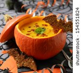 Fresh Cooked Pumpkin Soup On...