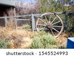 Old Wooden Cart Wheel Resting...