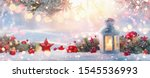 christmas lantern on snow with ... | Shutterstock . vector #1545536993