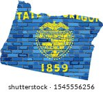 Oregon Map On A Brick Wall  ...
