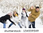 a group of young people playing ... | Shutterstock . vector #154559549