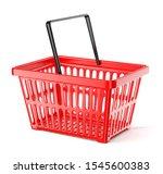 red plastic supermarket basket... | Shutterstock . vector #1545600383