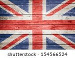 British Flag On Wood Texture...