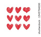 doodle hearts  hand drawn love... | Shutterstock .eps vector #1545704030