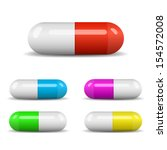 colorful capsules set | Shutterstock .eps vector #154572008