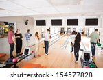 group of young friends bowling... | Shutterstock . vector #154577828