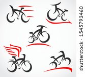 bicycle set. collection icon... | Shutterstock .eps vector #1545793460