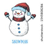snowman engraved style... | Shutterstock .eps vector #1545808286