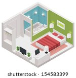 Stock vector vector isometric hotel room icon 154583399