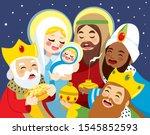 illustration of nativity scene... | Shutterstock .eps vector #1545852593