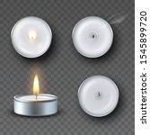 realistic tea candle with fire  ... | Shutterstock .eps vector #1545899720