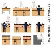 sushi chef and restaurant set.... | Shutterstock .eps vector #1545906236