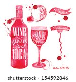 pointer drawn pour wine with...   Shutterstock .eps vector #154592846