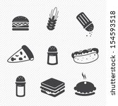 fast food icons set isolated on white background