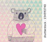 Stock vector cute koala bear in hipster style funny koala in sweater with big heart on modern stylish geometric 154593740